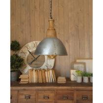 Závesné svietidlo v striebornej farbe s drevenou objímkou Orchidea Milano...