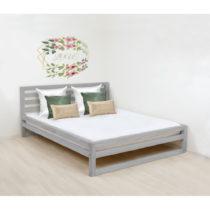 Sivá drevená dvojlôžková posteľ Benlemi DeLu...