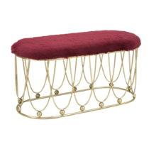 Vínovo-červená polstrovaná lavica so železnou kon&...