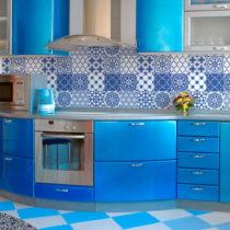 Sada 9 nástenných samolepiek Ambiance Wall Decals Blue Santorini Tiles, 20&#xA...