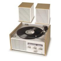 Bielo-béžový gramofón Crosley Switch II Natural