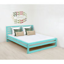 Tyrkysovomodrá drevená dvojlôžková posteľ Be...