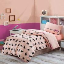 Obliečky s plachtou na jednolôžko Cats, 160×&#xA...