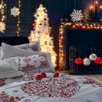 Vianočné bavlnené obliečky na dvojlôžko s p...