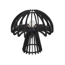 Čierna skladacia drevená stolová lampa Leitmotiv Traditional Mushroom