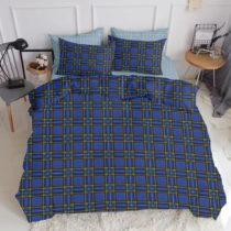 Modré bavlnené obliečky na dvojlôžko s plachtou COSAS...