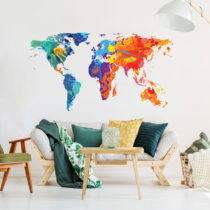 Nástenná samolepka Ambiance Wall Decal Worlds Map Design Watercolor, 60 &...