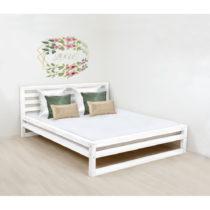 Biela drevená dvojlôžková posteľ Benlemi DeLuxe, 200 ...
