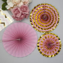 Sada 3 ružových papierových dekorácií Neviti Pinwheel