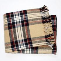 Béžový kockovaný pléd s podielom bavlny Euromant Scott...
