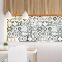 Sada 30 nástenných samolepiek Ambiance Wall Decal Cement Tiles Shades of Gray Oslo...