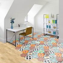 Sada 10 samolepiek na podlahu Ambiance Floor Stickers Hexagons Pénélope, 40&#x...