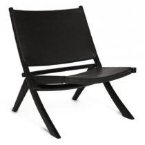 Čierna stolička s konštrukciou z teakového dreva a sedadlom z...