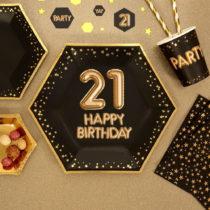 Sada 8 veľkých papierových tanierov Neviti Glitz & Glamour Happy 21