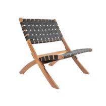 Čierna stolilčka z akáciového dreva s nylonovým po&am...