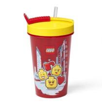 Červený téglik s žltým vekom a slamkou LEGO®...