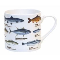Modrý keramický hrnček Gift Republic Multi Fish