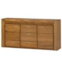 Dvojdverová komoda z dubového dreva s 3 zásuvkami Szynaka Meble Velvet