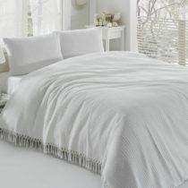 Biely bavlnený ľahký pléd cez posteľ Pique, 220&#...