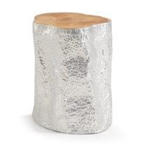 Odkladací stolík z teakového dreva v striebornej farbe La Forma Hoko