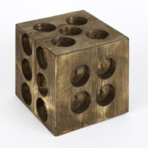 Drevený svietnik v tvare hracej kocky Mum