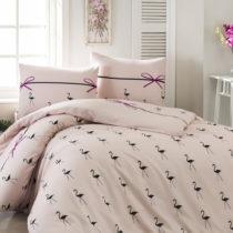 Obliečky s plachtou na dvojlôžko Flamingo Powder, 200&#xD...