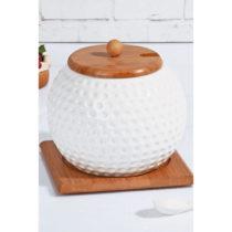 Porcelánová cukornička a lyžička s bambusov&#xFD...
