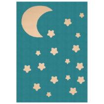 Detský tyrkysový koberec Zala Living Night Sky, 140 × 200 cm