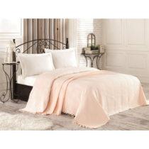 Krémová bavlnená prikrývka cez posteľ na dvojl&#xF...