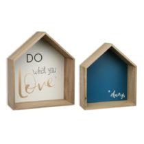 Sada 2 drevených nástenných políc Versa Houses Love