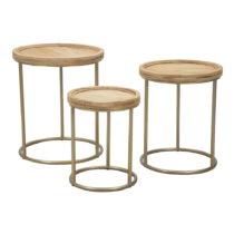 Sada 3 konferenčných stolíkov z jedľového dreva Mauro...