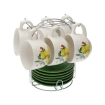 Set 6 čajových šálok s tanierikmi so stojančekom Ver...