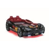 Čierna detská posteľ v tvare auta s červeným osvetle...