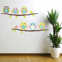 Sada samolepiek Ambiance Owls and Birds on Tree