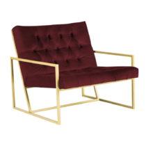 Vínovočervné kreslo s konštrukciou v zlatej farbe Mazzini Sofa...