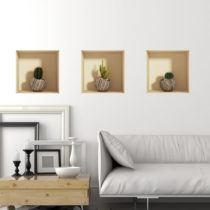 Sada 3 samolepiek s 3D efektom Ambiance Vases