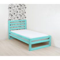 Tyrkysovomodrá drevená jednolôžková posteľ B...