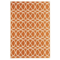 Oranžový vysokoodolný koberec vhodný do exteriéru Floo...