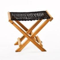 Sada 2 čiernych skladacích stoličiek z teakového dreva a v&...