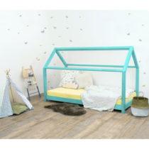 Tyrkysovomodrá detská posteľ bez bočníc zo smrekov&am...