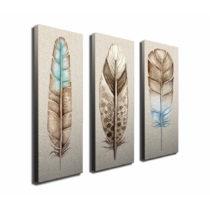 3-dielny obraz na plátne Feathers