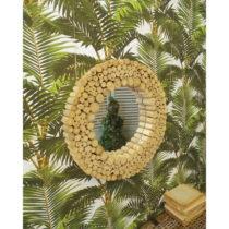 Zrkadlo z teakového dreva Orchidea Milano Paolo, ⌀ 50 cm