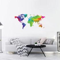 Nástenná samolepka Ambiance Wall Decal Origami Rainbow World Map, 60&...