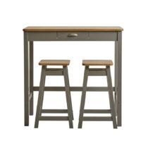 Sivý barový stolík s 2 stoličkami z masívneho borovico...