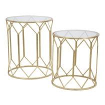 Sada 2 príručných stolku s konštrukciou v zlatej farbe Mauro F...