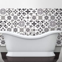 Sada 60 nástenných samolepiek Ambiance Rosettes Shade of Gray, 10 × 10 cm