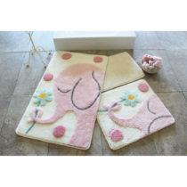 Sada 3 kúpeľňových predložiek Buyuk Fil Pink