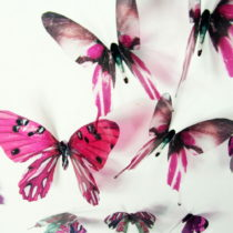 Sada 18 ružových adhezívnych 3D samolepiek Ambiance Butterflies