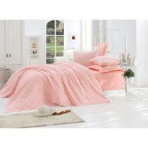 Ružová prikrývka cez posteľ z čistej bavlny Lolita, ...