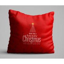 Červený vankúš Christmas Tree, 45 x 45 cm